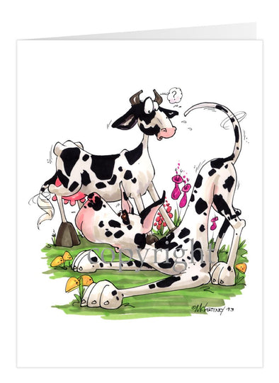 Great Dane Harlequin - With Cow - Caricature - Card