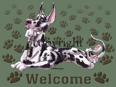 Great Dane Harlequin - Welcome - Mat