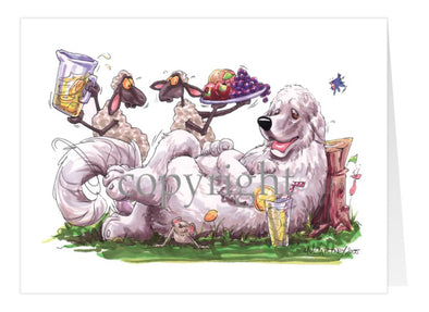 Great Pyrenees - Sheep Serving Lemonade And Fruit Plate - Caricature - Card