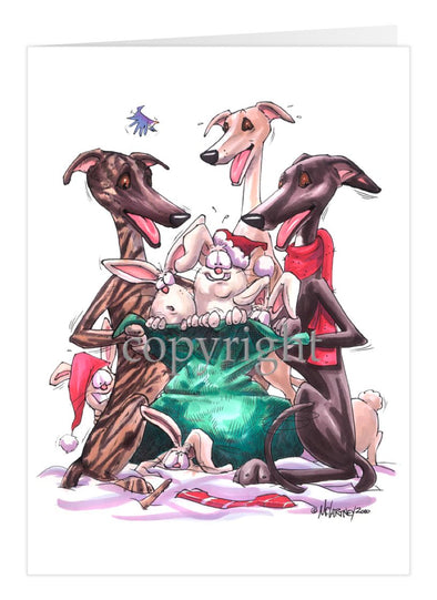 Greyhound - Bag Of Rabbits - Christmas Card