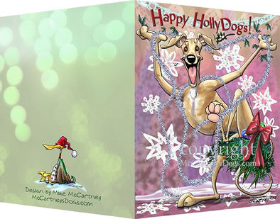 Greyhound - Happy Holly Dog Pine Skirt - Christmas Card