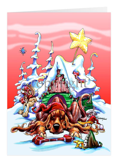 Irish Setter - Doghouse - Christmas Card