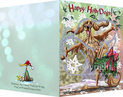 Irish Setter - Happy Holly Dog Pine Skirt - Christmas Card