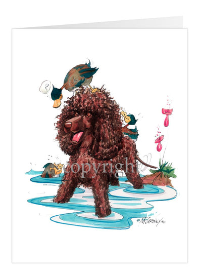 Irish Water Spaniel - Duch 0N Head - Caricature - Card