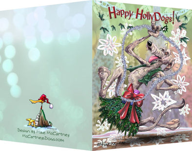 Irish Wolfhound - Happy Holly Dog Pine Skirt - Christmas Card