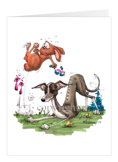 Italian Greyhound - Playing With Rabbit - Caricature - Card