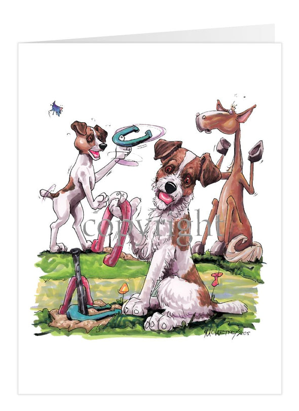 Jack Russell Terrier - Group Playing Horseshoes - Caricature - Card