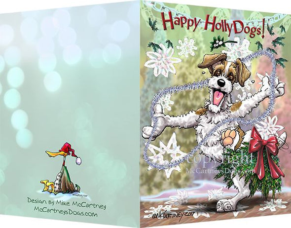 Jack Russell Terrier - Happy Holly Dog Pine Skirt - Christmas Card
