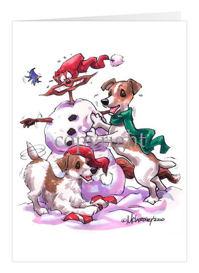 Jack Russell Terrier - Snowman - Christmas Card