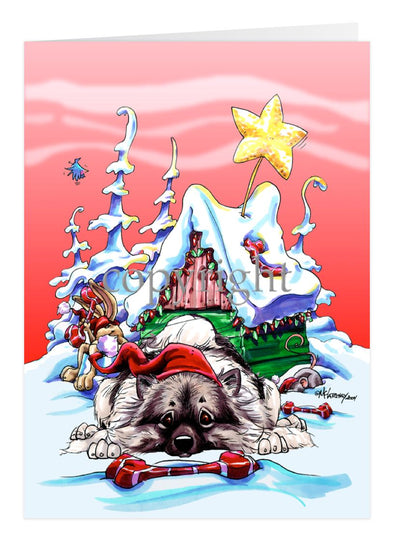 Keeshond - Doghouse - Christmas Card