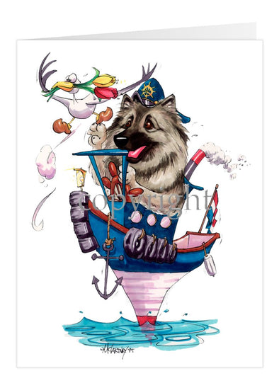 Keeshond - Tugboat - Caricature - Card
