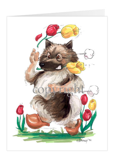 Keeshond - Tulips - Caricature - Card