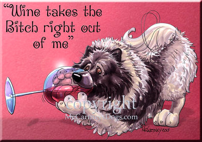 Keeshond - Wine Takes The Bitch - Cutting Board