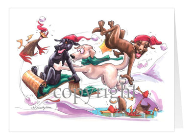 Labrador Retriever - Toboggan - Christmas Card
