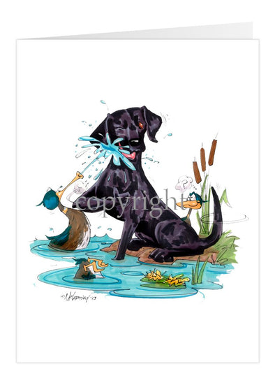 Labrador Retriever Black - Duck Squirting - Caricature - Card
