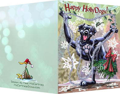 Labrador Retriever - Black - Happy Holly Dog Pine Skirt - Christmas Card