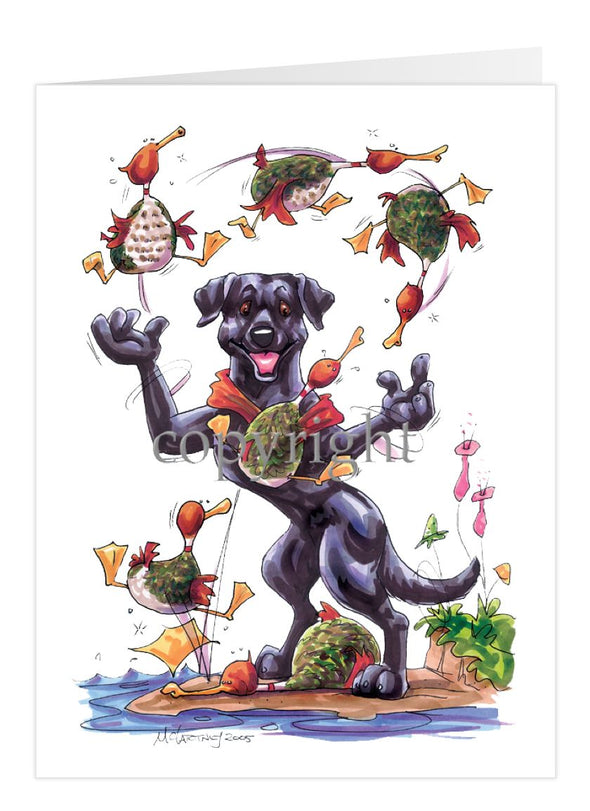 Labrador Retriever Black - Juggling Ducks - Caricature - Card