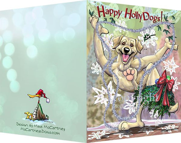 Labrador Retriever - Yellow - Happy Holly Dog Pine Skirt - Christmas Card