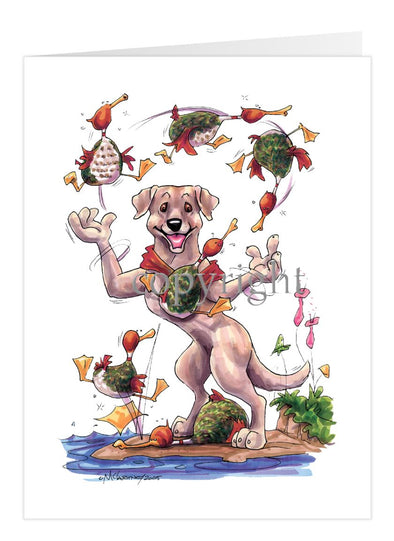 Labrador Retriever Yellow - Juggling Ducks - Caricature - Card