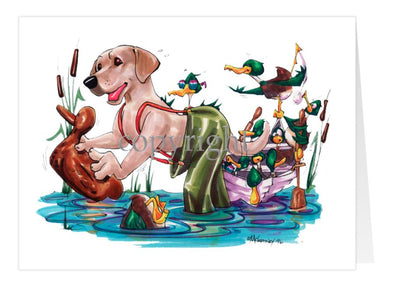 Labrador Retriever Yellow - Waders - Caricature - Card