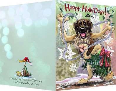 Leonberger - Happy Holly Dog Pine Skirt - Christmas Card