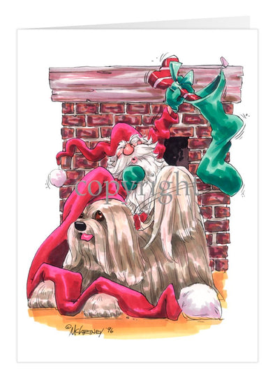 Lhasa Apso - Fireplace - Christmas Card
