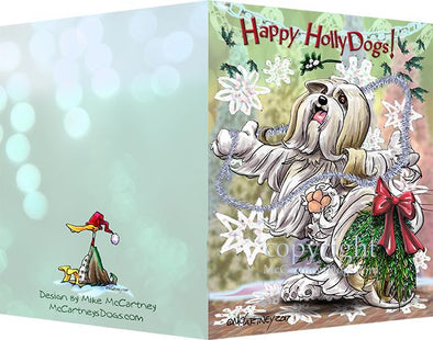 Lhasa Apso - Happy Holly Dog Pine Skirt - Christmas Card