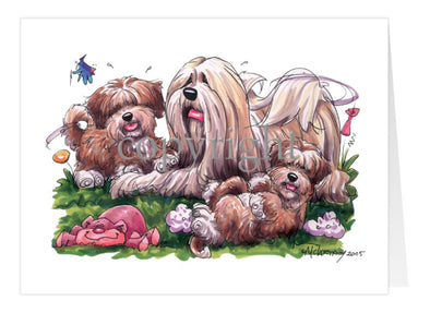 Lhasa Apso - With Puppies - Caricature - Card
