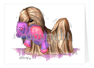 Lhasa Apso - With Toy Bear - Caricature - Card