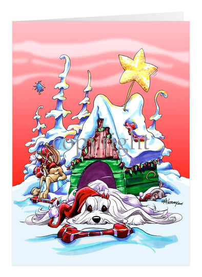 Maltese - Doghouse - Christmas Card