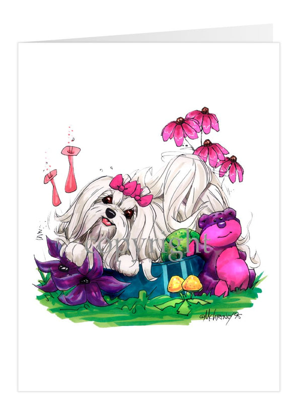 Maltese - In Dog Dish - Caricature - Card