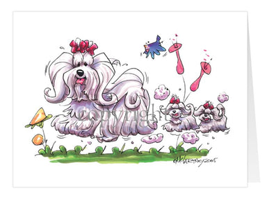 Maltese - With Puppies - Caricature - Card