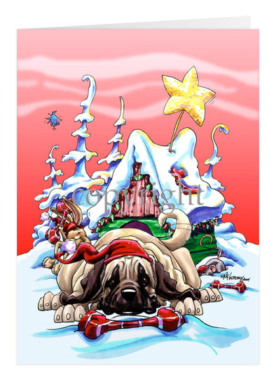 Mastiff - Doghouse - Christmas Card