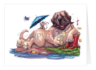 Mastiff - Drinking Lemonade - Caricature - Card