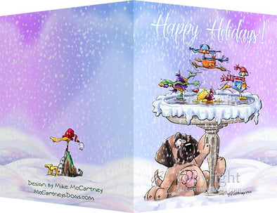 Mastiff - Frozen Bird Bath - Christmas Card