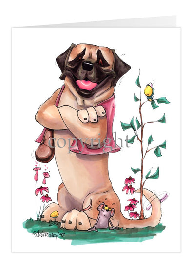 Mastiff - Sitting With Vest On - Caricature - Card