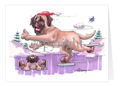 Mastiff - Skating - Christmas Card