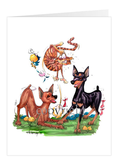Miniature Pinscher - Group Chasing Cat - Caricature - Card