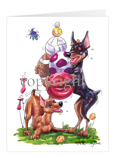 Miniature Pinscher - Group With Toys - Caricature - Card