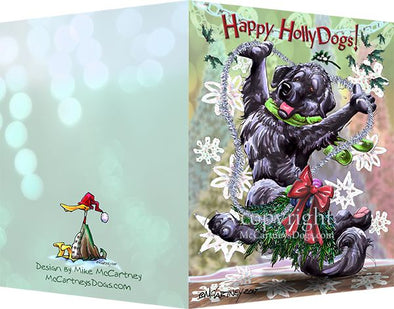 Newfoundland - Happy Holly Dog Pine Skirt - Christmas Card