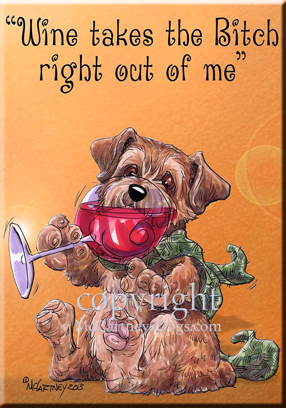 Norfolk Terrier - Wine Takes The Bitch - Cutting Board
