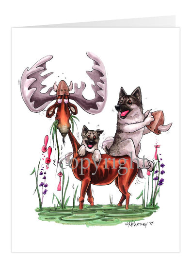 Norwegian Elkhound - Sitting On Moose - Caricature - Card