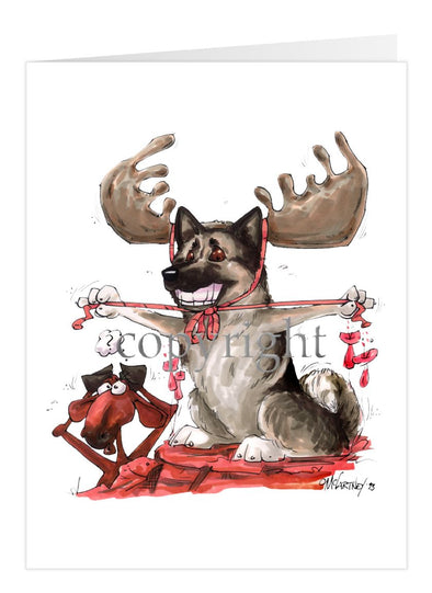Norwegian Elkhound - With Antlers - Caricature - Card