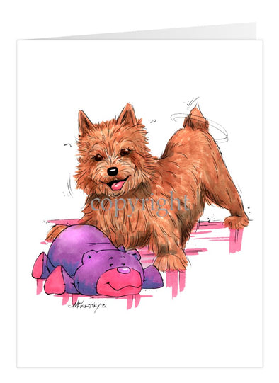 Norwich Terrier - With Stuffed Bear - Caricature - Card