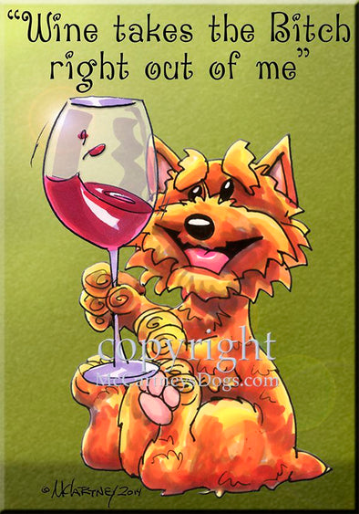 Norwich Terrier - Wine Takes The Bitch - Cutting Board