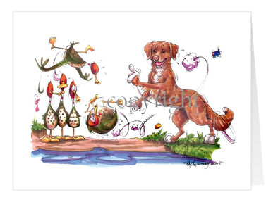 Nova Scotia Duck Tolling Retriever - Bowling Ducks - Caricature - Card