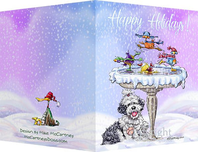 Old English Sheepdog - Frozen Bird Bath - Christmas Card