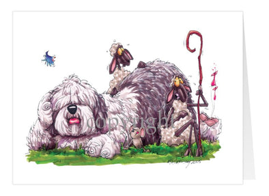 Old English Sheepdog - Laying Down With Sheep - Caricature - Card