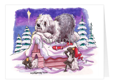 Old English Sheepdog - Rooftop - Christmas Card