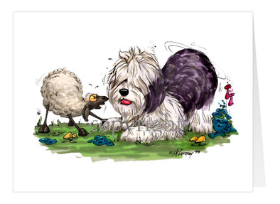Old English Sheepdog - With Sheep - Caricature - Card
